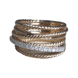 David Yurman Crossover 18K Rose Gold with .23ct Pave Diamond Ring Size 7