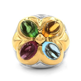 Bulgari Allegra 18K White & Yellow Gold Multi-Color Gemstone Flower Ring Size 6
