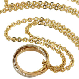 Cartier Baby Trinity 18K Yellow, Rose & White Gold Chain Pendant Necklace