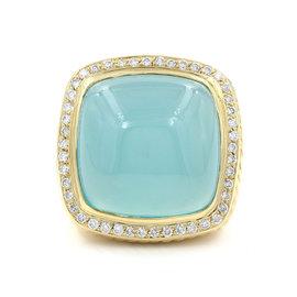 David Yurman 18K Yellow Gold Chalcedony and Pave Diamond Halo Ring Size 6.25