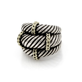 David Yurman Sterling Silver and 14K Yellow Gold Dome Ring Size 7