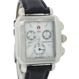 Michele Deco MW06P00A0046 Stainless Steel Mother Of Pearl Diamond Chronograph Bezel 32mm Womens Watch