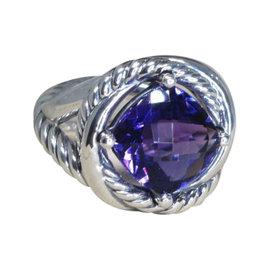 David Yurman Infinity Sterling Silver Amethyst Ring Size 7