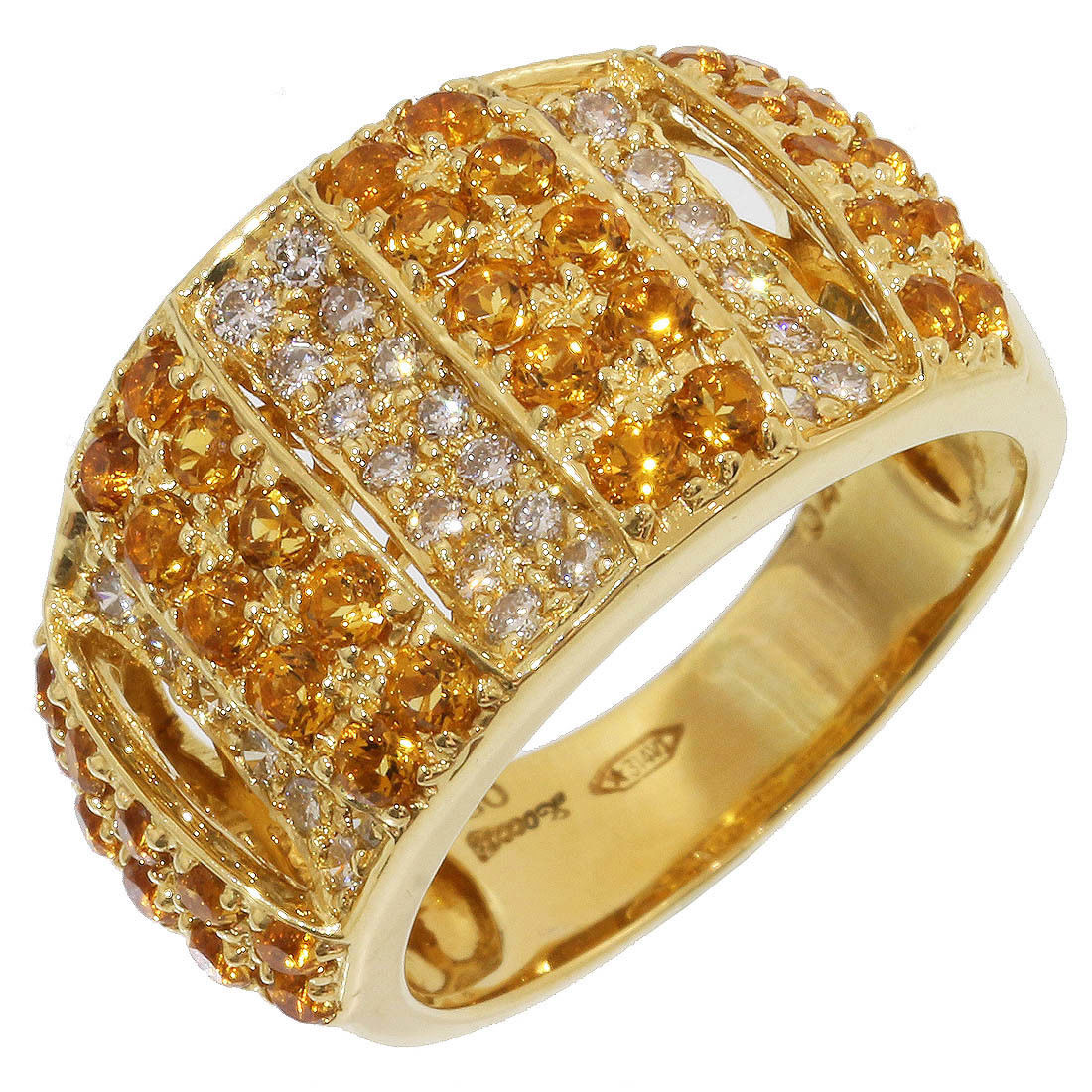 "Image of ""Zoccai 18K Yellow Gold with Citrine and 0.42ct Diamonds Ring Size 6.5"""