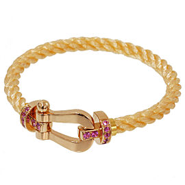 Fred Force 18K Rose Gold & Stainless Steel with Pink Sapphire Cord Bangle Bracelet