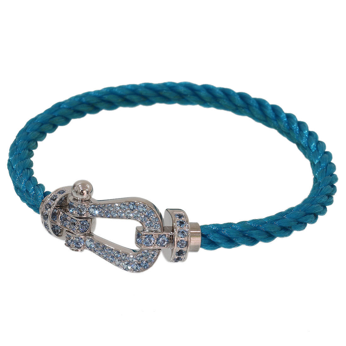 "Image of ""Fred Force 10 18K White Gold & Stainless Steel with Aquamarine Cord"""