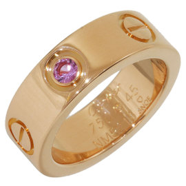 Cartier Love 18K Rose Gold with 1P Pink Sapphire Ring Size 3.5
