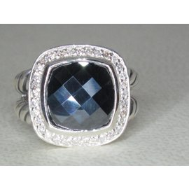 David Yurman Albion 925 Sterling Silver with Hematine and Diamond Ring Size 7