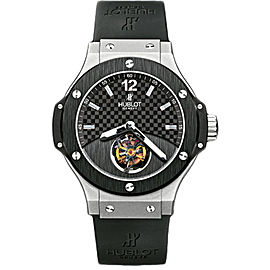 Hublot Tourbillon Solo Big Bang 305.TM.131.RX Platinum & Black Rubber with Black Carbon Fiber Dial 44mm Mens Watch