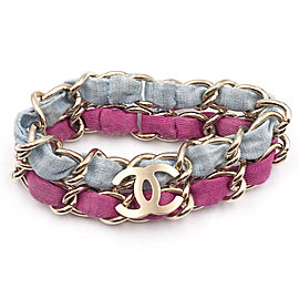 Chanel CC Blue Fuchsia Double Chain Bangle Bracelet