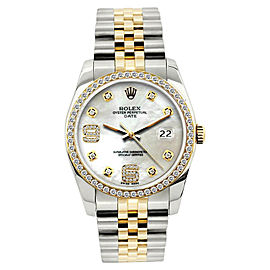 Rolex Date 18K Yellow Gold & Stainless Steel MOP & Diamond 34mm Watch