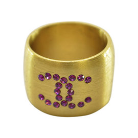 Chanel Gold-Tone Metal & Rhinestone Ring Size 6.75