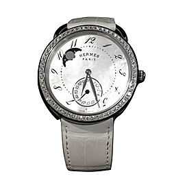 Hermes Arceau Stainless Steel & Leather MOP & Diamond 38mm Watch