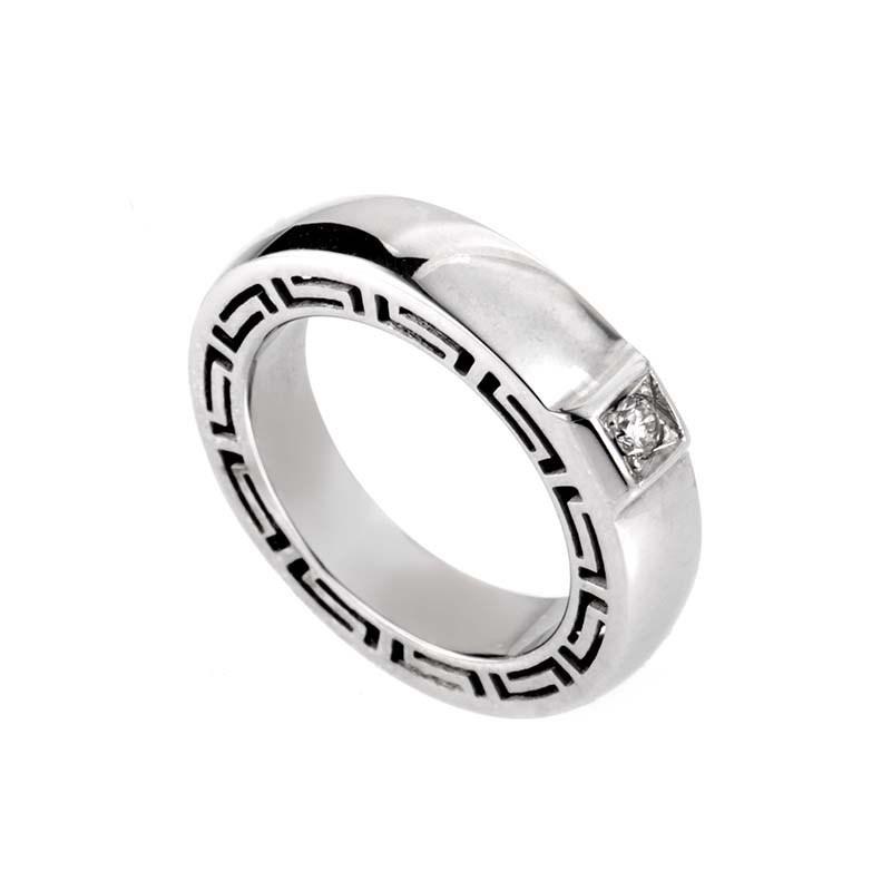 "Image of ""Versace V-Profile 18K White Gold Diamond Ring Size 5.75"""