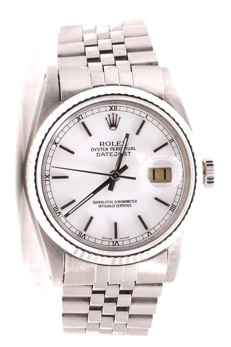 "Image of ""Rolex Datejust Stainless Steel Jubilee Band White Stick Marker Dial"""