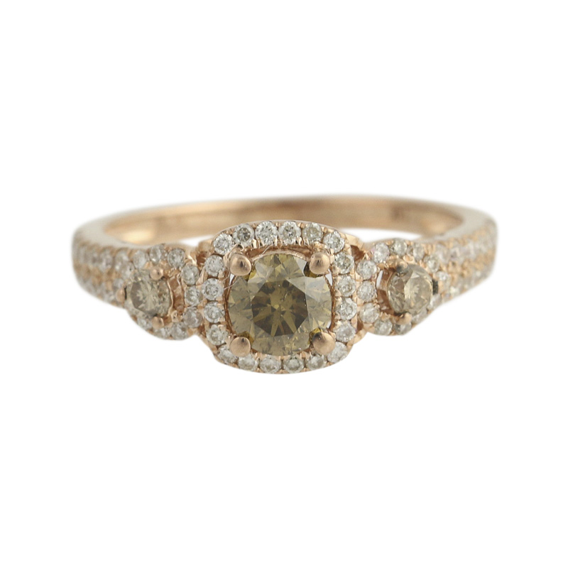 "Image of ""Le Vian 14K Rose Gold 1.30ct. Diamond Chocolate Halo Ring Size 7.25"""