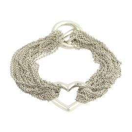 Tiffany & Co. 925 Sterling Silver Heart Multi-Strand Toggle Bracelet