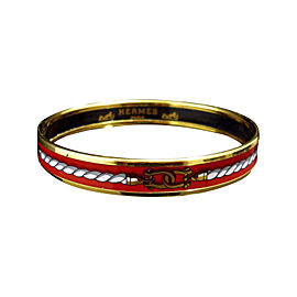 Hermes Gold Tone Metal & Cloisonne Red Enamel Bangle Bracelet