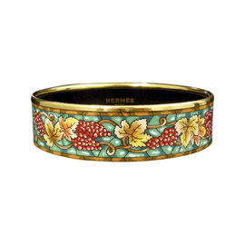 Hermes Gold Tone Metal & Cloisonne Enamel Green Fruit Bangle Bracelet