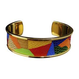 Hermes Gold-Tone Metal Lizard Patchwork Bangle Bracelet