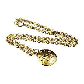 Chanel Matelasse Gold-Tone Metal Coco Mark CC Logo Pendant Necklace