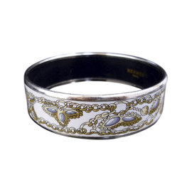 Hermes Silver Tone Metal & Cloisonne White Enamel Bangle Bracelet