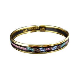 Hermes Gold Tone Metal & Cloisonne Enamel Bangle Bracelet