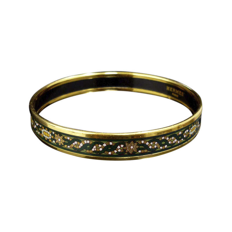 """Image of """"Hermes Gold Tone Metal & Cloisonne Green Enamel Bangle Bracelet"""""""