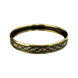 Hermes Gold Tone Metal & Cloisonne Green Enamel Bangle Bracelet