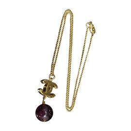 Chanel Coco Mark Gold-Tone Metal Coco Mark Colored Stone Pendant Necklace