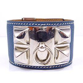 Hermes Medor Collier de Chien Silver Tone Metal & Leather Bracelet