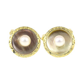 Mikimoto 14K Yellow Gold Pearl Mother of Pearl Cufflinks