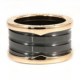 Bulgari B-Zero 1 Black Ceramic & 18K Rose Gold Ring Size 6