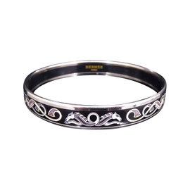 Hermes Silver Tone Metal & Cloisonne Enamel Bangle Bracelet