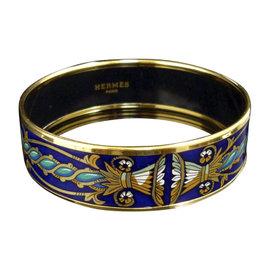 Hermes Gold Tone Metal & Cloisonne Navy Blue Enamel Bangle Bracelet