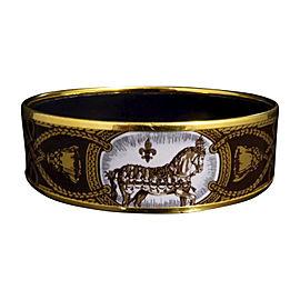 Hermes Gold Tone Metal & Cloisonne Brown Enamel Bangle Bracelet