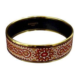 Hermes Gold Tone Metal & Cloisonne Red Enamel Bangle Bracelet