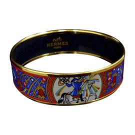 Hermes Gold Tone Metal & Cloisonne Enamel Horse Blue Bangle Bracelet