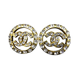 Chanel Gold-Tone Rhinestones Coco Mark Clip-On Earrings