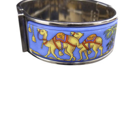 Hermes Silver Tone Metal & Cloisonne Bangle Bracelet