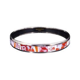 Hermes Silver Tone Metal, Cloisonne and Red Enamel Bangle Bracelet