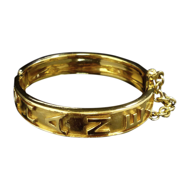 "Image of ""Chanel Gold-Tone Metal Logo Bangle Bracelet"""