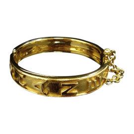 Chanel Gold-Tone Metal Logo Bangle Bracelet