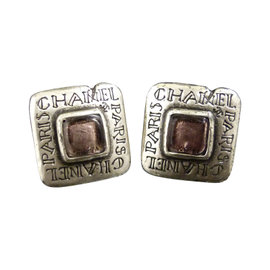 Chanel Logo Motif Silver-Tone Colored Stones Clip-On Earrings