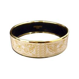Hermes Gold Tone Metal, Cloisonne and White Brown Enamel Bangle Bracelet