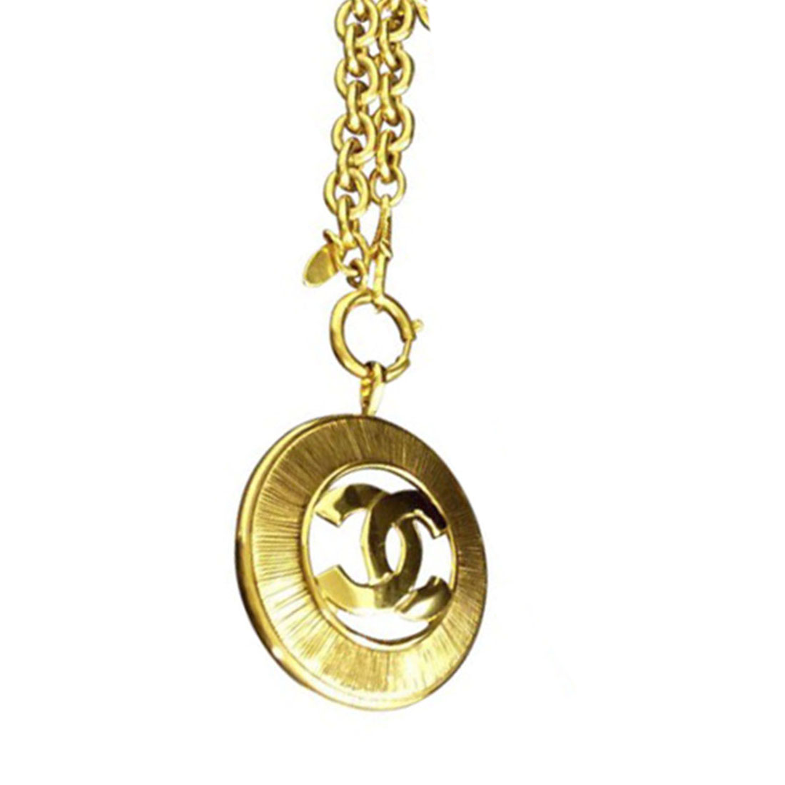 """Image of """"Chanel Coco Mark Gold Tone Metal Chain Pendant Necklace"""""""