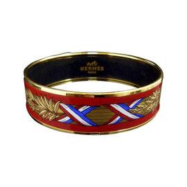 Hermes Gold Tone Metal, Cloisonne Red Gold Tri-Color Enamel Bangle Bracelet