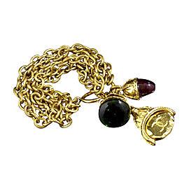 Chanel Gold-Tone Chain Colored Stones CC Coco Mark Logo Bracelet