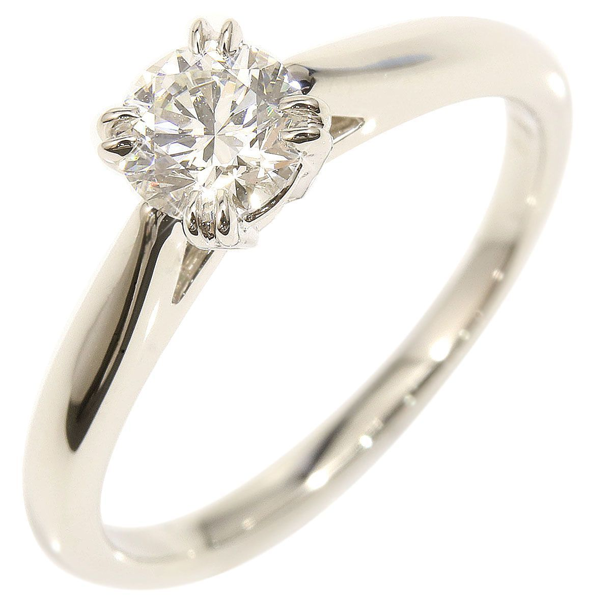 "Image of ""Harry Winston 950 Platinum & 0.5ct Diamond Engagement Ring Size 5.75"""