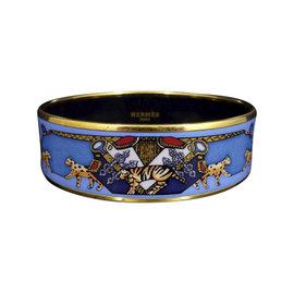 Hermes Gold Tone Metal Cloisonne Blue Horse Panther Enamel Bangle Bracelet